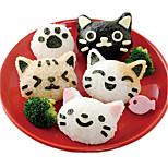 3Pcs Cute Cat Sushi Nori Rice Mold Decor Cutter Bento Maker Sandwich DIY Tool