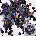 12 colourful/set Radium Nails Peach Heart Sequins Shiny Decoration 1g/box