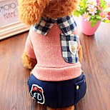 Dog Shirt / T-Shirt Clothes/Jumpsuit Dog Clothes Casual/Daily British Blushing Pink Blue