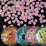 4Bottles/Set Sweety Style Fashion Paillette Colorful Candy Colors Lovely Love Heart Sequins Nail Art DIY Decoration Manicure Beauty Accessories