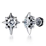 Men's Stud Earrings Rhinestone Fashion Rock Titanium Steel Jewelry For Daily Casual