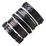 Men's Leather Bracelet Wrap Bracelet Punk Adjustable Leather Round Jewelry For Going out Street