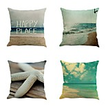 Set Of 4 Tropical Sandbeach Seaside Printing Pillow Cover Home Decor Cushion Cover