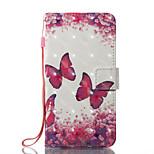 Pour iPhone X iPhone 8 Etuis coque Portefeuille Porte Carte Avec Support Clapet Motif Magnétique Coque Intégrale Coque Papillon Dur Cuir