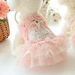 Собака Платья Одежда для собак На каждый день Принцесса Белый Розовый