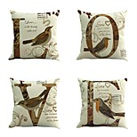 4 pcs Cotton/Linen Pillow Case Pillow CoverFashion Letter Quotes & Sayings Traditional/Classic Euro Retro