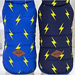 Собака Жилет Одежда для собак Сохраняет тепло Геометрические линии Синий Темно-синий