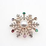Жен. Броши Имитация Алмазный Мода Классика Сплав В форме цветка Бижутерия Назначение Для вечеринок Рождество