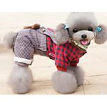 Собака Комбинезоны Одежда для собак На каждый день В клетку Лиловый Розовый Светло-синий