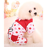 Dog Jumpsuit Dog Clothes Cotton Down Winter Spring/Fall Casual/Daily Cartoon Red Blue For Pets