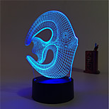 1 Set, Home Bedroom Acrylic 3D Night Light LED Lamp USB Mood Lamp, Available Battery, Colorful, 3W, Fish