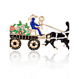 Men's Women's Brooches Imitation Diamond Adorable Chrismas Alloy Horse Jewelry For Gift Christmas
