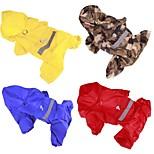 Собака Дождевик Одежда для собак На каждый день Сплошной цвет Желтый Красный Синий Камуфляж цвета