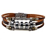 Men's Leather Bracelet Fashion Personalized Leather Alloy Round Jewelry For Daily Street