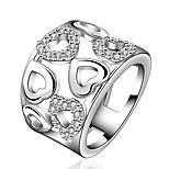 Жен. Классические кольца Цирконий Базовый дизайн Мода Циркон Серебрянное покрытие В форме сердца Бижутерия Назначение Для вечеринок