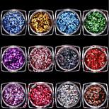 12 colourful/set Nails Radium The Diamond Sequins Shiny Decoration 1g/box