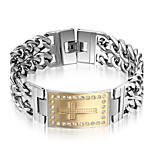 Men's Chain Bracelet Punk Rock Titanium Steel Cross Jewelry For Party Gift