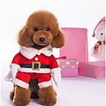 Собака Костюмы Комбинезоны Одежда для собак Рождество Цветовые блоки Красный