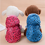 Dog Coat Dog Clothes Casual/Daily Keep Warm Polka Dots Blue Red