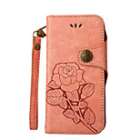 For Case Cover Card Holder Wallet with Stand Flip Embossed Full Body Case Solid Color Flower Hard PU Leather for LG LG K10 (2017) LG K10