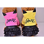 Dog Dress Dog Clothes Casual/Daily Princess Red Yellow