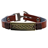 Men's Women's Leather Bracelet Fashion Rock Leather Alloy Round Square Jewelry For Daily Casual