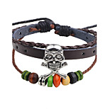 Men's Women's Leather Bracelet Strand Bracelet Handmade Hip-Hop Leather Wood Round Skull / Skeleton Jewelry For Casual Going out