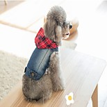 Dog Denim Jacket/Jeans Jacket Vest Dog Clothes Denim Spring/Fall Summer Casual/Daily Cowboy Halloween Christmas Jeans Blue For Pets