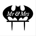 Acrylic Cake Insert Batman Cake Insert Mr &Mrs Cake Card