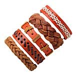 Муж. Wrap Браслеты Кожаные браслеты Мода Rock Кожа Круглой формы Бижутерия Назначение Halloween На выход