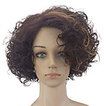 Women Synthetic Wig Capless Medium Curly Ash Brown Highlighted/Balayage Hair Middle Part Party Wig Natural Wig Costume Wigs