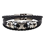 Men's Leather Bracelet Hip-Hop Personalized Leather Alloy Round Jewelry For Club Street