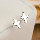 Men's Women's Stud Earrings Jewelry Cross Simple Style Sterling Silver Cross Jewelry For Gift Daily