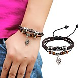 Men's Women's Leather Bracelet Handmade Adjustable Leather Alloy Round Leaf Jewelry For Casual Going out