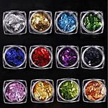 12 rayures de radium rayures colorées / ensemble les paillettes oeil de cheval décoration brillante 1g / boîte