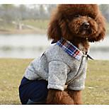 Собака Комбинезоны Одежда для собак На каждый день В клетку Серый Красный