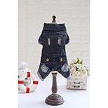 Dog Coat Dog Clothes Casual/Daily Jeans Dark Blue