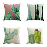Set Of 4 Tropical Cactus Pattern Pillow Cover Classic Sofa Cushion Cover Home Decor Pillow Case