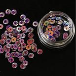 12 colourful/set Circular Indentation Sequins Phototherapy Nail Drill 1g/box