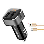 HYUNDAI HY39  Car Charger Display Voltage 2 USB Ports 3.1A DC 12V-24V With Type-C Cable