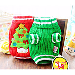 Dog Sweater Dog Clothes Casual/Daily Christmas Cartoon Green Red