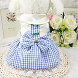Кошка Собака Платья Одежда для собак На каждый день В клетку Розовый Светло-синий