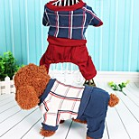 Dog Jumpsuit Dog Clothes Casual/Daily Plaid/Check Gray Red Costume For Pets