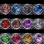 12 colourful/set Radium Pentagram Sequins Shiny Decoration 1g/box
