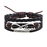 Men's Women's Leather Bracelet Love Adjustable Leather Alloy Round Jewelry For Casual Going out