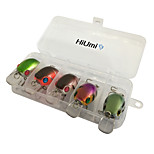 5 pcs Fishing Tackle Box Fishing Lures Hard Bait Crank g/Ounce,55 mm/2-1/4
