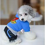 Собака Плащи Одежда для собак Сохраняет тепло Буквы и цифры Красный Синий