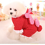 Dog Clothes/Jumpsuit Dog Clothes Casual/Daily Polka Dots Blushing Pink Red