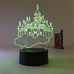 1 Set, Home Bedroom Acrylic 3D Night Light LED Lamp USB Mood Lamp, Available Battery, Colorful, 3W, Castle