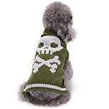 Собака Свитера Одежда для собак Хэллоуин Черепа Зеленый
